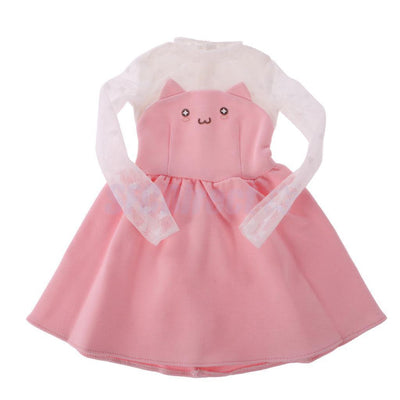 2x Cute Pink Cat Face Knitted Lace Sleeve One-piece Skirt Dress for 1/3 BJD SD
