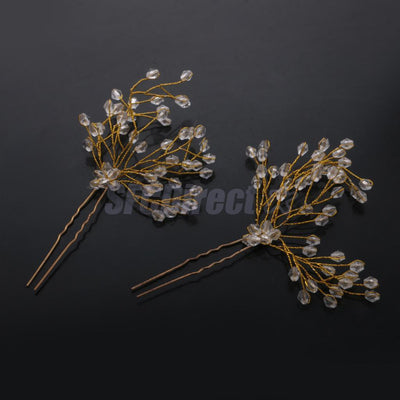 2pcs Women Lady Wedding Party Clear Crystal Hair Pins Clips Stick Bridesmaid