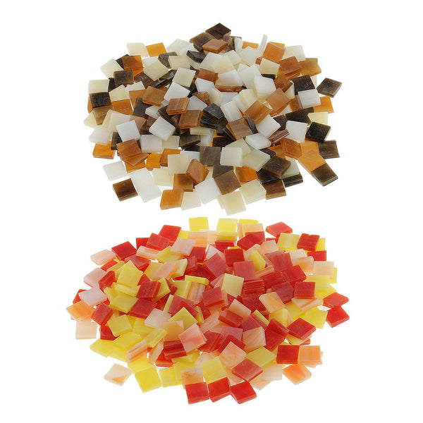 500x Colorful Square Glass Mosaic Tiles Tessera for Art Craft Supply 10x10mm