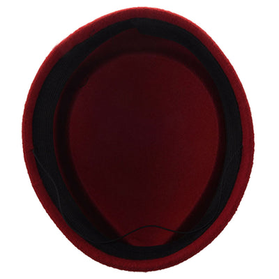 Wool Felt Pillbox Air Hostesses Beret Hat Party Base Cap (Red wine) WS XV L4S6