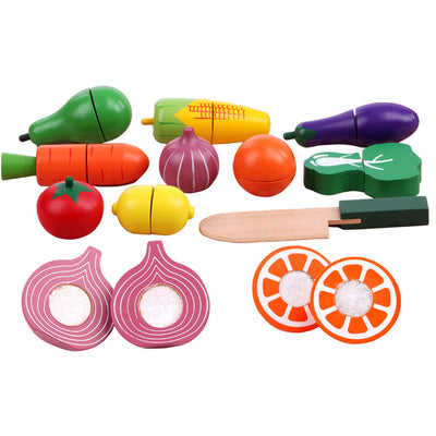 19 Pieces Mini Wooden Magnet Fruits Vegetables Food Cutting Role Play Toys