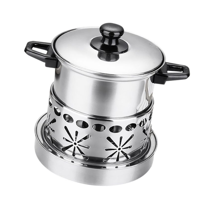 Stainless Steel Hot Pot Food Serving Pot with Alcohol Burner Lid Set 16cm
