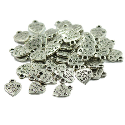 100pcs Rectangle Love Heart Pendant DIY Art Crafts Necklace Pendant Charms