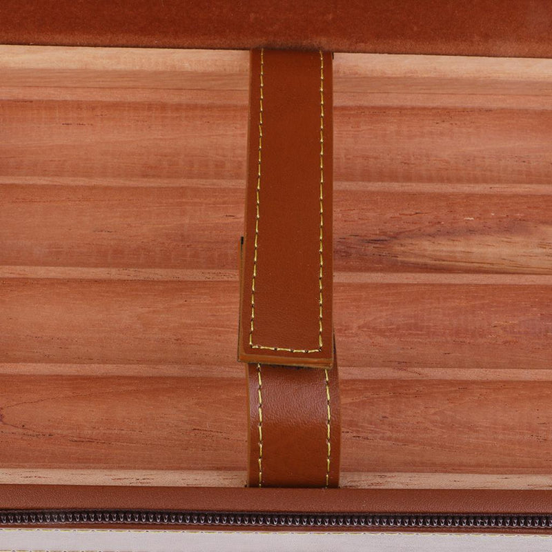 4 Tubes Wooden Humidor Portable Businese Leather Cedar Wood Lined Cigar Case