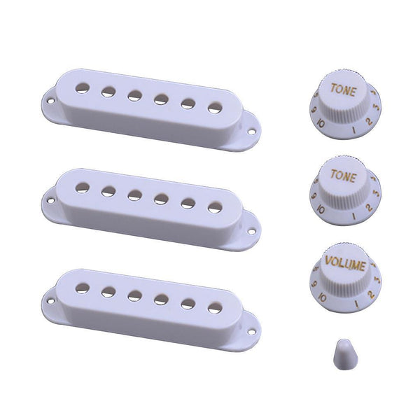 Electric Guitar Plastic Pickup Covers Volume Tone Knobs Switch Tip White