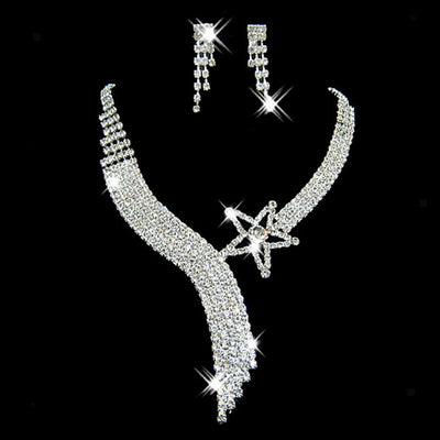 Stunning Wedding Necklace Earrings Set Party Jewelry Crystal Star
