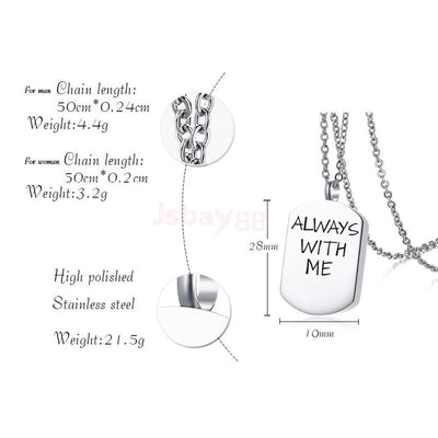 """Always with Me""Necklace Cremation Pendant Cremation Jewelry Pet Urn Dog Tag"