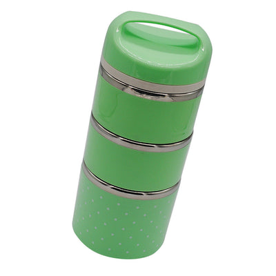 3 Layer Thermal Insulated Lunch Box Bento Food Container Stainless Green