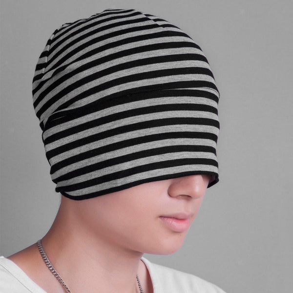 Adults Mens Unisex All Cotton Night Caps Sleep Patch Fancy Head Cap Black Grey