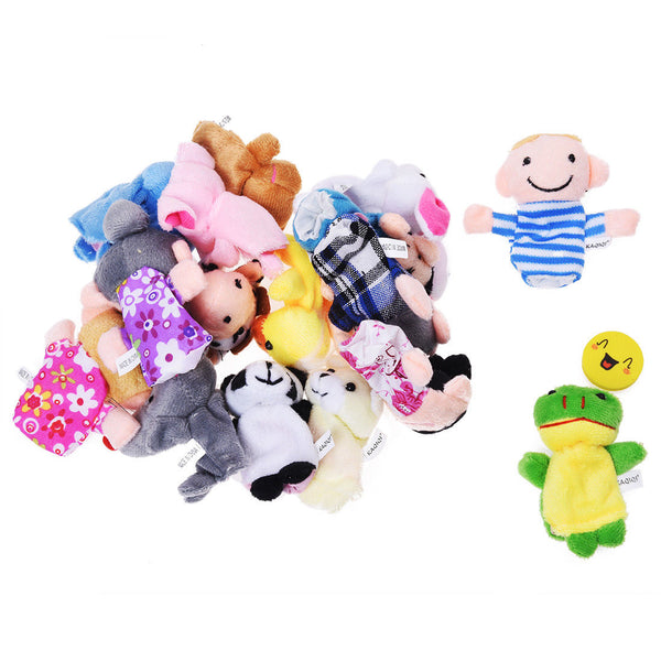 Story Time Finger Puppets - 10 pcs Velvet Animal and 6 pcs Soft Plush Famil U7J5