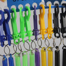 12pcs Elastic Retractable Plastic Spring Spiral Keychain Key Ring Key Holder