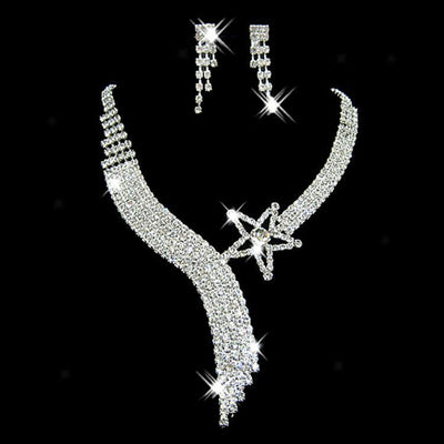 Bridal Wedding Party Jewelry Crystal Star Rhinestone Necklace Earring Set New