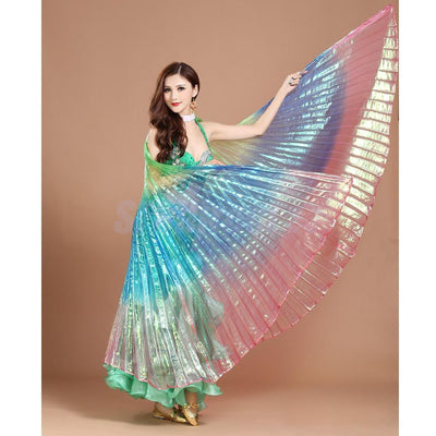 Shining Belly Dance Isis Wing Costume Rainbow Angel Belly Wing Dance Wear