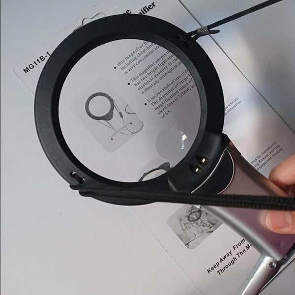 Hanging Table Magnifier Magnifying Glass Reading Jewelry Loupe Tool with LED