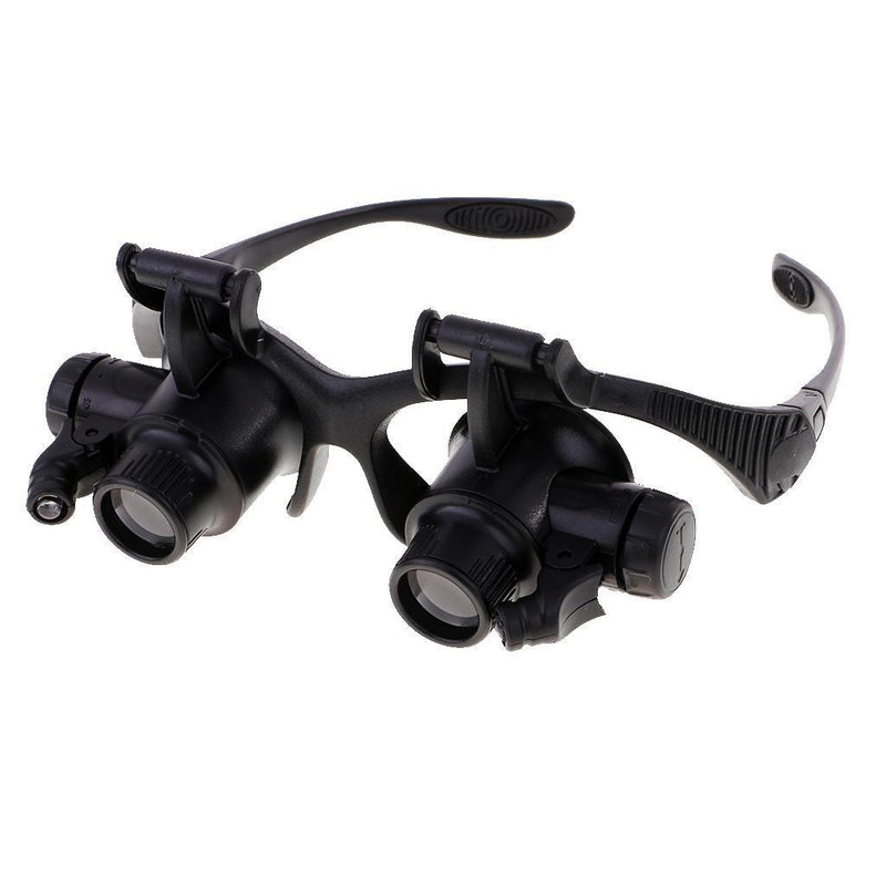10/15/20/25X LED Double Eye Jeweler Watch Repair Magnifier Glass Loupe Lens