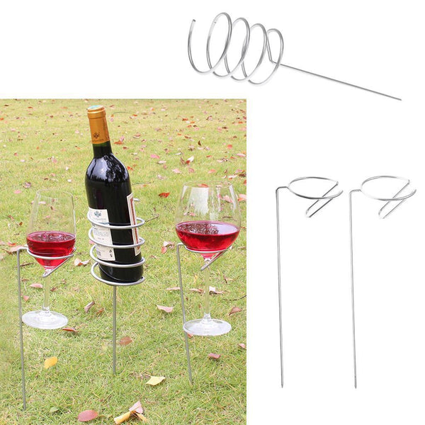 Outdoor Stakes Holder Set for Holding 1 Wine Bottle/ Drink and 2 Glasses