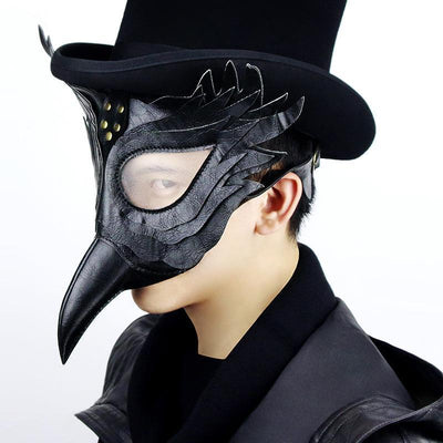 Black Plague Doctor Mask Costume Halloween Gothic Steampunk Bird Beak Mask