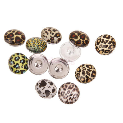 12Pcs Chunky Leopard Print Snap Button fit for Noosa Bracelet Rings Findings