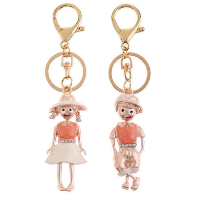 2X Alloy Cute Boy Girl Lovers Key Chain Women Men Sweet Gift Keyring Trendy