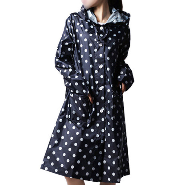 Outdoor Women Waterproof Riding Clothes Raincoat Poncho Pocket Navy Blue LN
