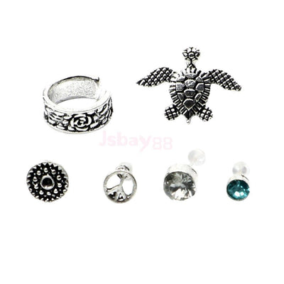 6x Bohemian Women Lady Ear Cuff Cartilage Wrap Non Piercing Clip Set Gifts