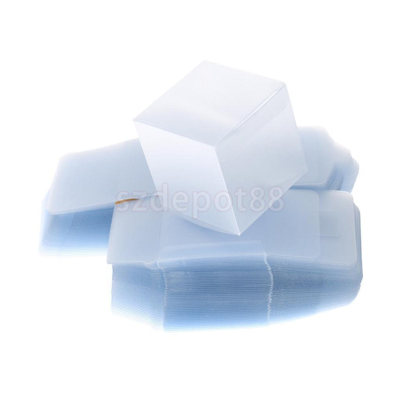 50x Clear Plastic PVC Square Favor Boxes Wedding Party Gift Packing Display