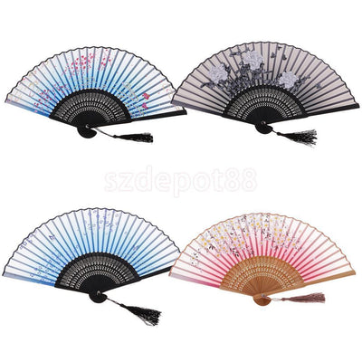 Folding Bamboo Hand Fan Gift Accessory for Trip Beach Party 8.26'' Set of 4