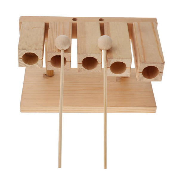 Kids Musical Early Learning Educational Toys Wooden Five-tone Block&Stick