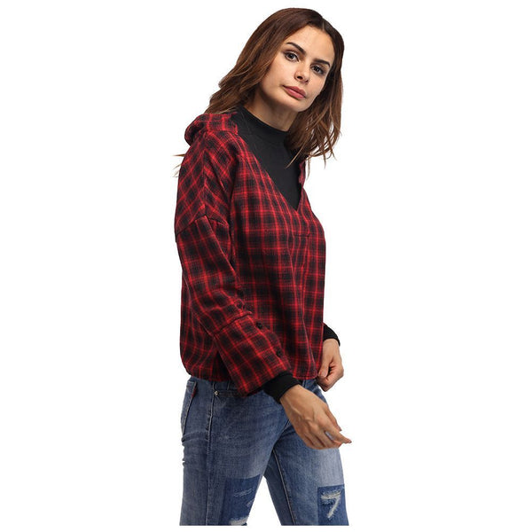 Women Red Plaid Patchwork Shirt Female Check Shirts Long Sleeve Spring Autu P0X8