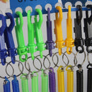 12pcs Mixed Spring Spiral Retractable Keyring Metal Clip Keychain Key Ring
