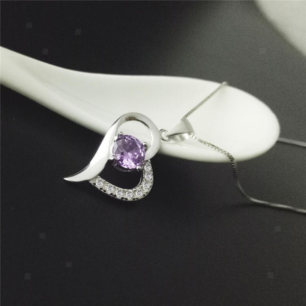 MagiDeal Purple Rhinestone Heart Pendant Necklace Bridal Women Girl Jewelry