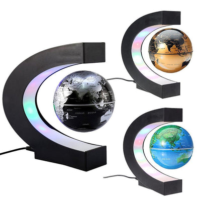 MagiDeal C Shape LED Magnetic Levitation Floating Globe World Map US Blue