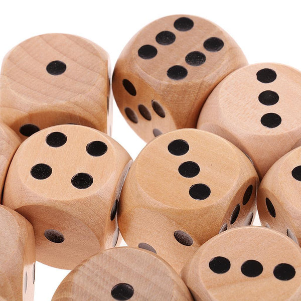 Collectible D6 Wood Dice Dotted 10x for Table Card Game MTG DND Prop Natural