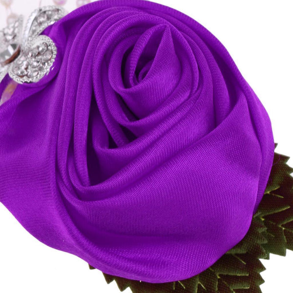 7x Artificial Rose Flower Wedding Corsage Buttonhole Boutonniere-Dark Purple