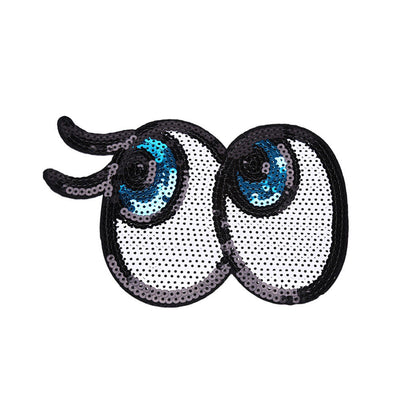 cartoon eyes Embroidered Cloth Iron On Patch Sew Motif Applique badge Sequin  JH