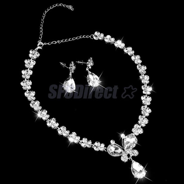 Teardrop Crystal Butterfly Necklace & Earrings Set Wedding Bridal Party Prom