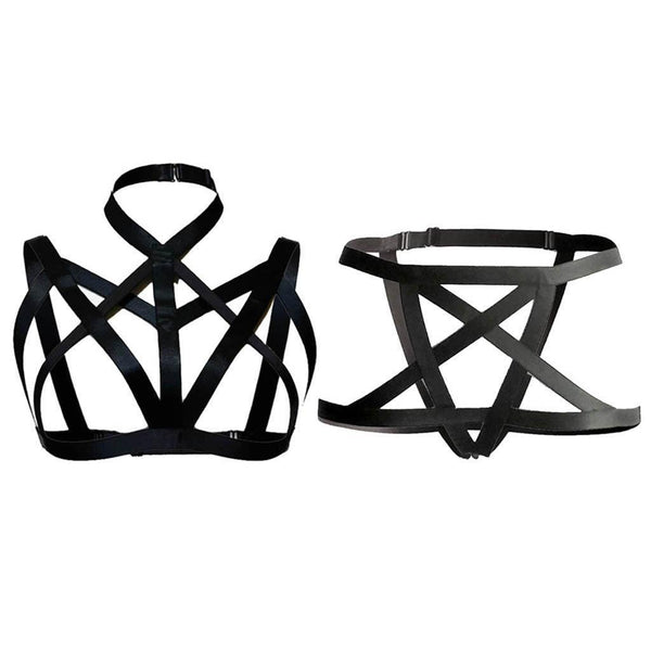 1 Set Womens Body Harness Bandage Cage Ladies Hollow Out Bra+Underpant