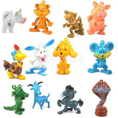 12PCS Plastic Chinese Zodiac Animals Figures Kids Party Gift Bag Favor Toys