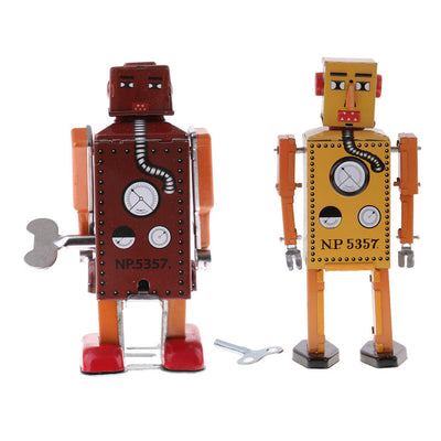2X Old-fashioned Metal Wind Up Walking Robot Mechanical Toys Yellow + Brown