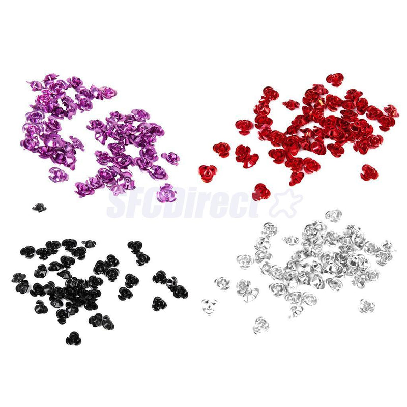 200pcs Metal Rose Flower Loose Spacer Beads DIY Crafts Charms Finding 8mm