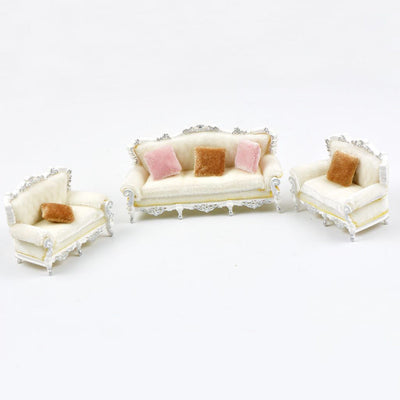 1:25 Scale European Sofa Models for Railway Train Layout Scenery Parts White