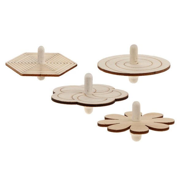 4pcs Wood Spinning Tops Gyro Wooden Toys for Kid DIY Handmade Painting Craft