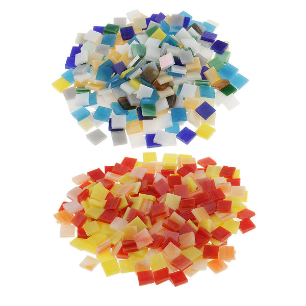500 Pcs Mixed Color Tumbled Stained Glass Mosaic Tiles Home Decor