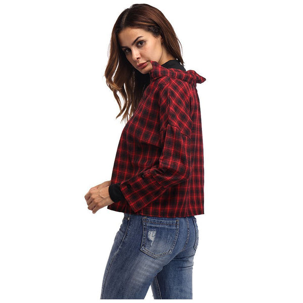 Women Red Plaid Patchwork Shirt Female Check Shirts Long Sleeve Spring Autu U2B5