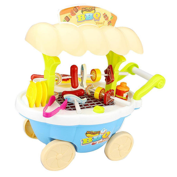Blue BBQ Cart Pretend Grill Playset with Working Lights and Sound for Kids