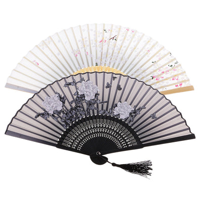 2x Retro Style Folding Women Lady Hand Fan Wedding Party Prom Craft Kid Gift