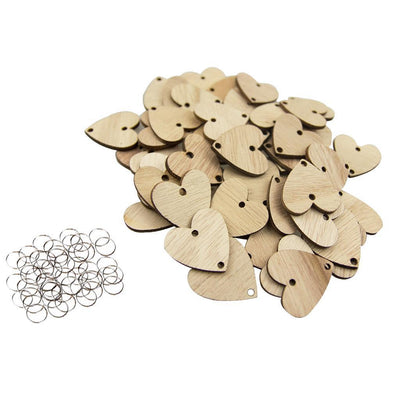 100x Round Heart Wooden Chips Slices Discs Board Tags DIY w/ Assembly Hook