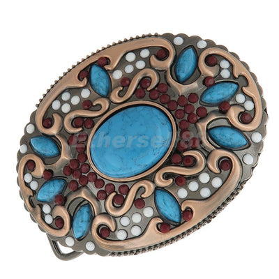 Fashion Oval Belt Buckle with Lots Bohemian Beads Blue Turquoise Accessories