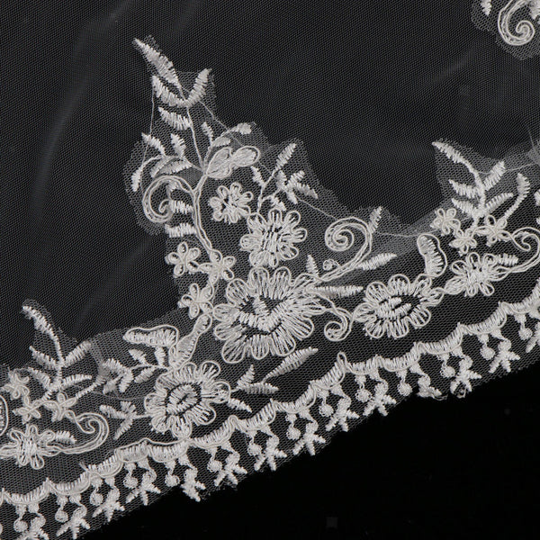 Wedding Applique Long Veil with Floral Headband Chapel Long Accessories