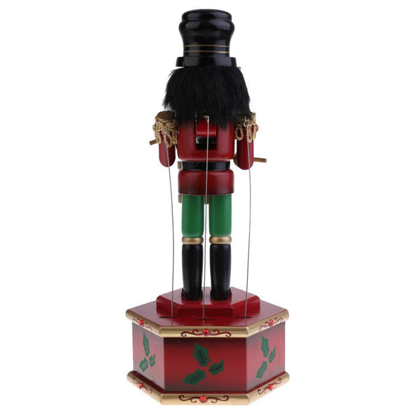 Handpainted Wooden Nutcracker Soldier Drummer Music Box Christmas Ornaments